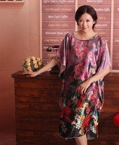B356-11 Lenjerie desu larg tip kimono cu model floral - Halate - Haine > Haine Femei > Lenjerie intima > Halate