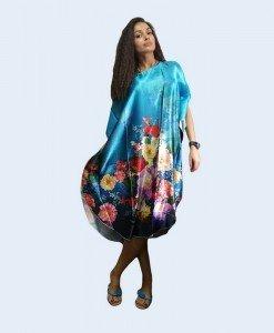B356-9 Lenjerie desu larg tip kimono cu model floral - Halate - Haine > Haine Femei > Lenjerie intima > Halate