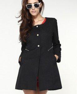 BL152-1 Palton cu maneci lungi si nasturi in fata - Geci si Paltoane - Haine > Haine Femei > Geci si Paltoane