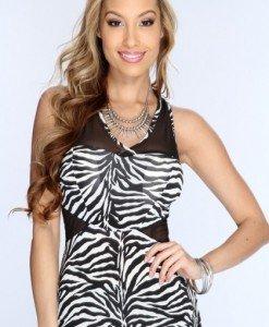 BL183-2 Maieu cu model zebra print si plasa - Tricouri si Maieuri - Haine > Haine Femei > Tricouri si Maieuri