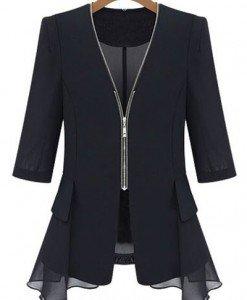 BL211-1 Bluza eleganta cu fermoar in fata si maneci treisfert - Cardigane - Haine > Haine Femei > Bluze > Cardigane