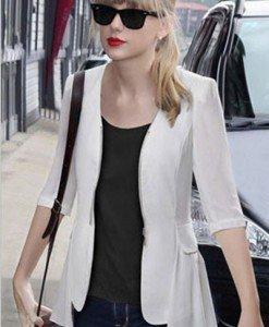 BL211-2 Bluza eleganta cu fermoar in fata si maneci treisfert - Cardigane - Haine > Haine Femei > Bluze > Cardigane