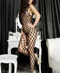 BS120-1 Bodystocking din plasa cu model - Bodystockings