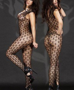 BS138-1 Catsuit din plasa fara maneci si decolteu - Bodystockings