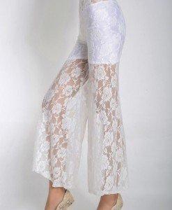 CL371-2 Pantaloni largi cu dantela transparenta - Pantaloni Lungi - Haine > Haine Femei > Pantaloni Dama > Pantaloni Lungi