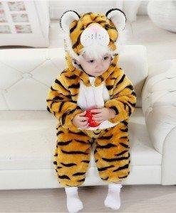 CLD37 Salopeta tigru pentru copii cu material dublu polar - Costume tematice - Haine > Haine Copii > Costume tematice