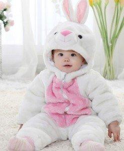 CLD43-A Costum tematic iepuras alb copii - Costume tematice - Haine > Haine Copii > Costume tematice