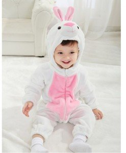 CLD43 Salopeta tematica iepuras pentru copii cu material triplu polar - Costume tematice - Haine > Haine Copii > Costume tematice
