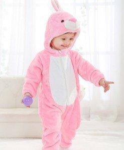 CLD46-5 Salopeta iepuras roz pentru copii cu material polar - Costume tematice - Haine > Haine Copii > Costume tematice