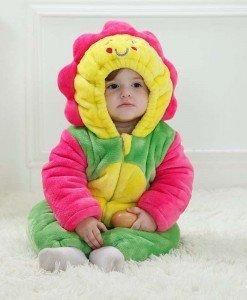 CLD47 Salopeta floarea soarelui pentru copii cu material polar - Costume tematice - Haine > Haine Copii > Costume tematice
