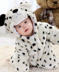 CLD6-A Salopeta leopard alb pentru copii cu material triplu polar - Costume tematice - Haine > Haine Copii > Costume tematice