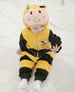 CLD66 Salopeta albinuta pentru copii cu material polar - Costume tematice - Haine > Haine Copii > Costume tematice
