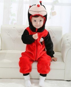 CLD68 Salopeta buburuza pentru copii cu material polar dublu - Costume tematice - Haine > Haine Copii > Costume tematice