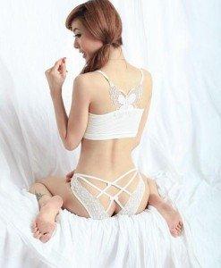 GS104-2 Lenjerie chilot sexy cu dantela si bretele in X la spate - Chilot dama - Haine > Haine Femei > Lenjerie intima > Chilot dama