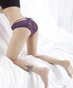 GS404-10 Chilot normal elegant cu fundita si decupaj din dantela la spate - Chilot dama - Haine > Haine Femei > Lenjerie intima > Chilot dama