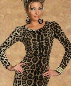 H176 Rochie scurta cu model animal print si maneci lungi - Rochii scurte - Haine > Haine Femei > Rochii Femei > Rochii de club > Rochii scurte