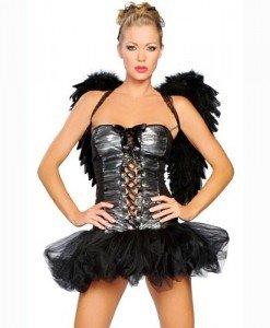 J12 Costum animatie Halloween - inger negru - Inger & Dracusor - Haine > Haine Femei > Costume Tematice > Inger & Dracusor