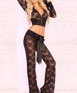 J194 Compleu sexy din top cu gluga si pantaloni lungi - Top si pantaloni - Haine > Haine Femei > Compleuri > Top si pantaloni