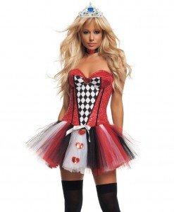J321 Costum Halloween Dama de pica (Regina de Rosu) - Basme si Legende - Haine > Haine Femei > Costume Tematice > Basme si Legende