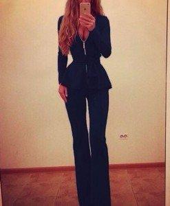 L362-4 Compleu elegant din top cu maneci lungi si peplum si pantaloni lungi evazati - Top si pantaloni - Haine > Haine Femei > Compleuri > Top si pantaloni