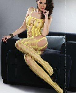 Livia Corsetti 64-9 enjerie bodystocking cu dungi pe picior si decupaje - Bodystockings