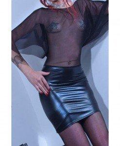 M269-1 Rochie scurta cu plasa si vinil - Rochii - Haine > Haine Femei > Costume latex si PVC > Rochii
