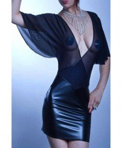 N260-1 Rochie mulata cu plasa si vinil - Rochii - Haine > Haine Femei > Costume latex si PVC > Rochii
