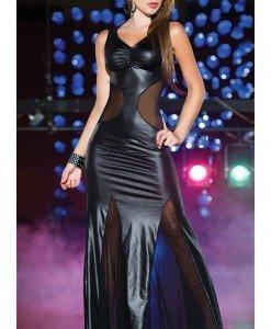 N268-1 Rochie lunga din vinil elastic - Rochii - Haine > Haine Femei > Costume latex si PVC > Rochii