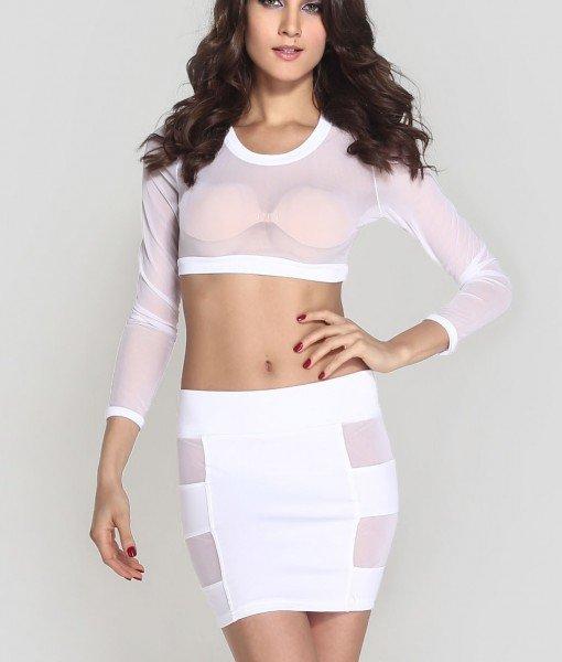 N330-2 Compleu top transparent si fusta mini cu decupaje din plasa – Top si fusta – Haine > Haine Femei > Compleuri > Top si fusta