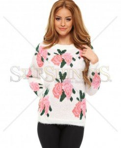 Pulover Fuzzy Fashion White - Pulovere -