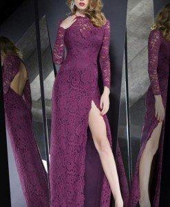 R378-11 Rochie lunga eleganta din dantela cu maneci lungi si crapatura pe un picior - Rochii lungi - Haine > Haine Femei > Rochii Femei > Rochii de seara > Rochii lungi