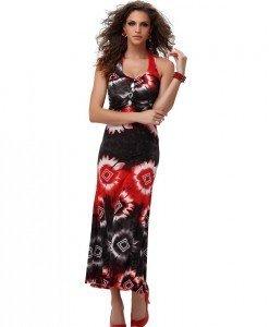 RV167-3 Rochie lunga de vara cu model colorat - Rochii de vara - Haine > Haine Femei > Rochii Femei > Rochii de vara