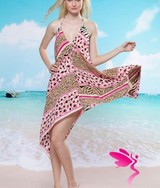 RV85 Rochie de plaja cu model animal print – Costume de plaja – Haine > Haine Femei > Costume de baie > Costume de plaja