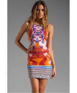 Rochie Orange Print - Rochii///Rochii de vara - 0