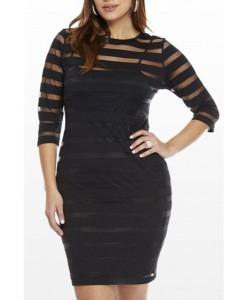 Rochie XXL Black Transparent Stripes - Rochii///Rochii XXL - 0