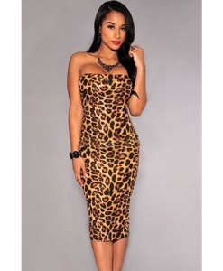 Rochii Leopard Strapless - Rochii///Rochii de seara - 0