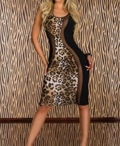 S246 Rochie cu model animal print - Rochii scurte - Haine > Haine Femei > Rochii Femei > Rochii de club > Rochii scurte