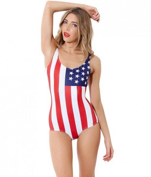 SW350 Costum de baie intreg cu model USA – Costume de baie intregi – Haine > Haine Femei > Costume de baie > Costume de baie intregi