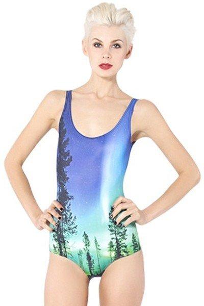SW419 Costum de baie cu model aurora boreala – Costume de baie intregi – Haine > Haine Femei > Costume de baie > Costume de baie intregi