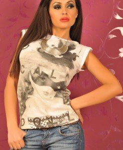 SiS92 Tricou Dama cu Imprimeu - Sisley - Haine > Brands > Sisley