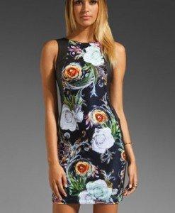 T376 Rochie sexy cu model floral - Rochii cu imprimeu - Haine > Haine Femei > Rochii Femei > Rochii de zi > Rochii cu imprimeu