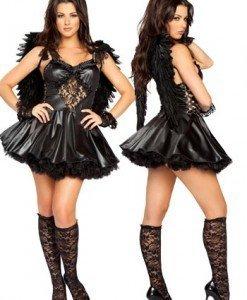 T81 Costum Halloween inger negru - Inger & Dracusor - Haine > Haine Femei > Costume Tematice > Inger & Dracusor