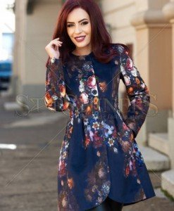 Trench Beautiful Flowers DarkBlue - Trenciuri -