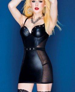 V248 Rochie sexy din vinil accesorizata - Rochii accesorizate - Haine > Haine Femei > Rochii Femei > Rochii de club > Rochii accesorizate