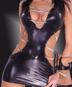 V57 Rochie din latex accesorizata cu lantisor argintiu - Rochii - Haine > Haine Femei > Costume latex si PVC > Rochii