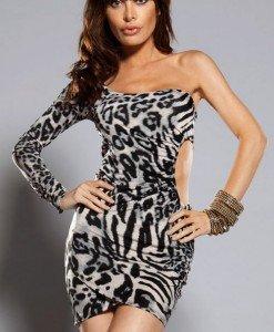 W177-1 Rochie sexy animal print cu o maneca si decupaj lateral - Rochii scurte - Haine > Haine Femei > Rochii Femei > Rochii de club > Rochii scurte