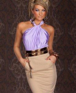 X222-11 Rochie eleganta in doua culori accesorizata in talie - Rochii de seara - Haine > Haine Femei > Rochii Femei > Rochii de seara