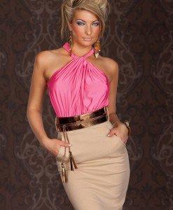 X222-5 Rochie eleganta in doua culori accesorizata in talie - Rochii de seara - Haine > Haine Femei > Rochii Femei > Rochii de seara