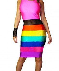 X334 Rochie colorata tip curcubeu - Rochii de club - Haine > Haine Femei > Rochii Femei > Rochii de club