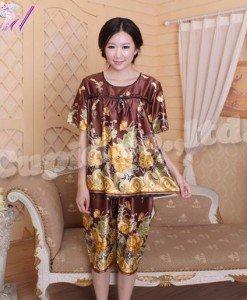 Y348 Lenjerie top si pantaloni treisfert cu model floral - Pijamale - Haine > Haine Femei > Pijamale